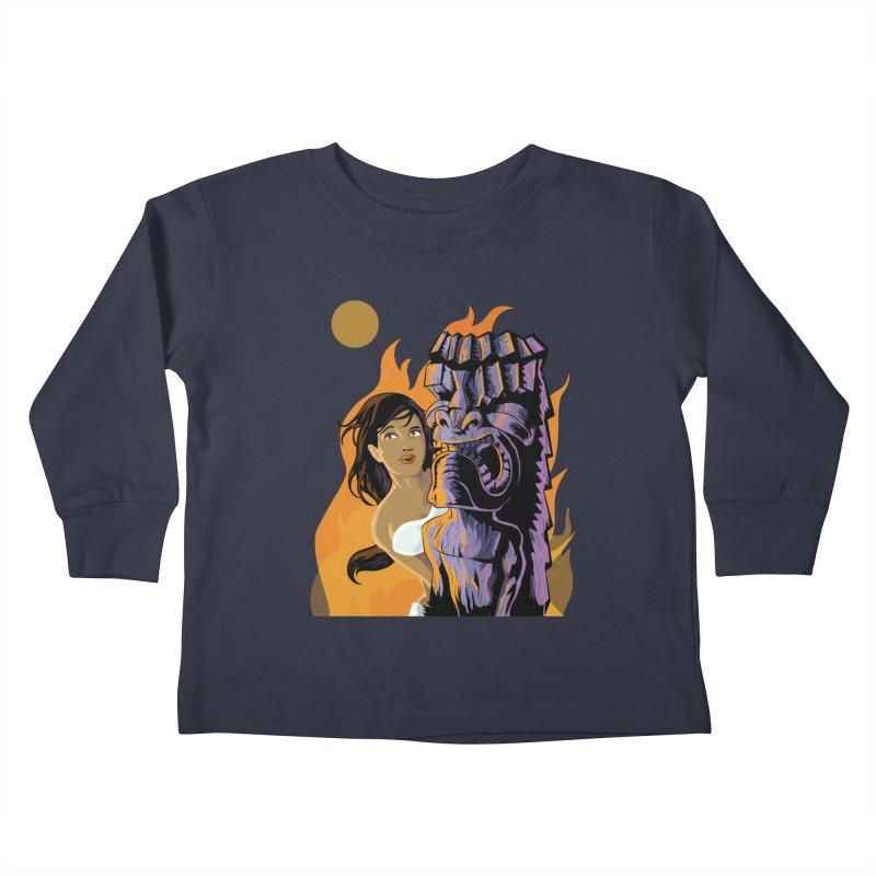 Wahine, Moon And Fire Kids Toddler Longsleeve T-Shirt by Zerostreet's Artist Shop