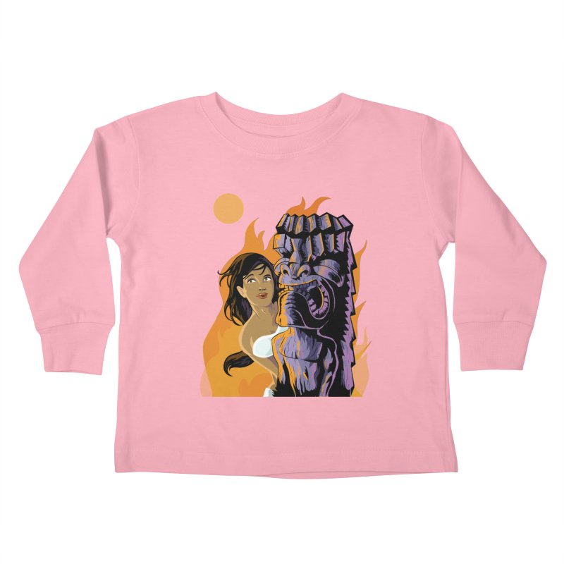 Wahine, Moon And Fire Kids Toddler Longsleeve T-Shirt by Zerostreet's Artist Shop