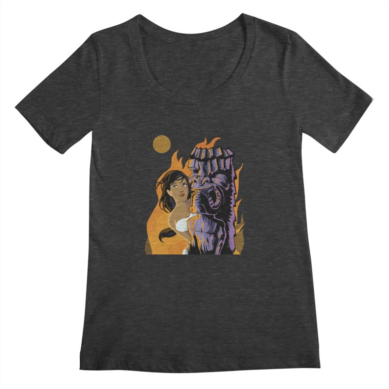 Wahine, Moon And Fire Women's Scoopneck by Zerostreet's Artist Shop
