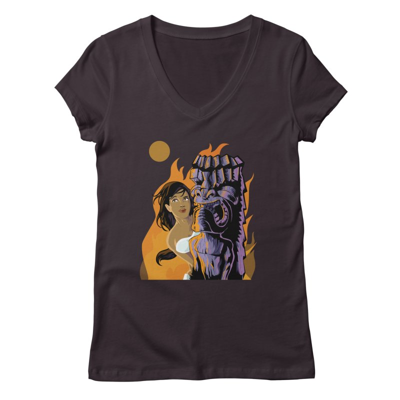 Wahine, Moon And Fire Women's V-Neck by Zerostreet's Artist Shop