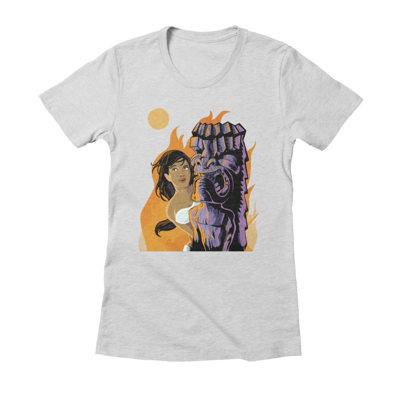 Wahine, Moon And Fire Women's Fitted T-Shirt by Zerostreet's Artist Shop