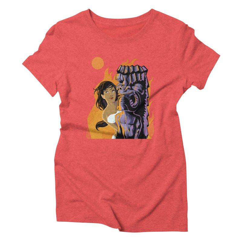 Wahine, Moon And Fire Women's Triblend T-Shirt by Zerostreet's Artist Shop