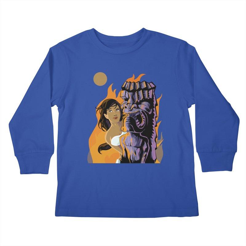 Wahine, Moon And Fire Kids Longsleeve T-Shirt by Zerostreet's Artist Shop