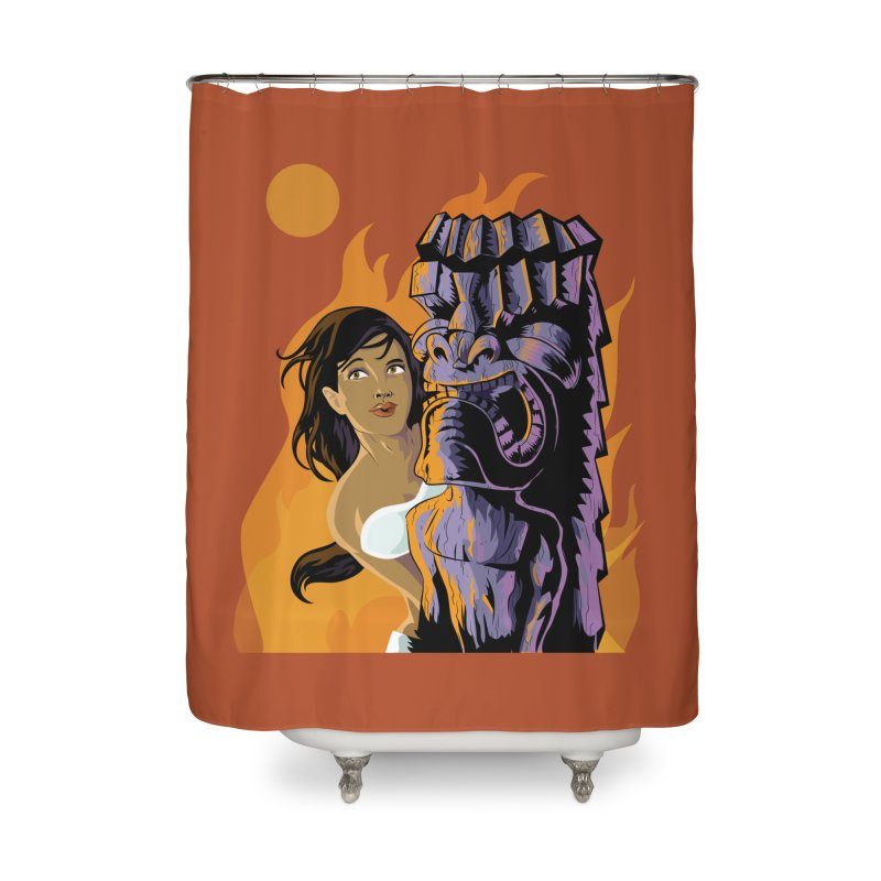 Wahine, Moon And Fire Home Shower Curtain by Zerostreet's Artist Shop