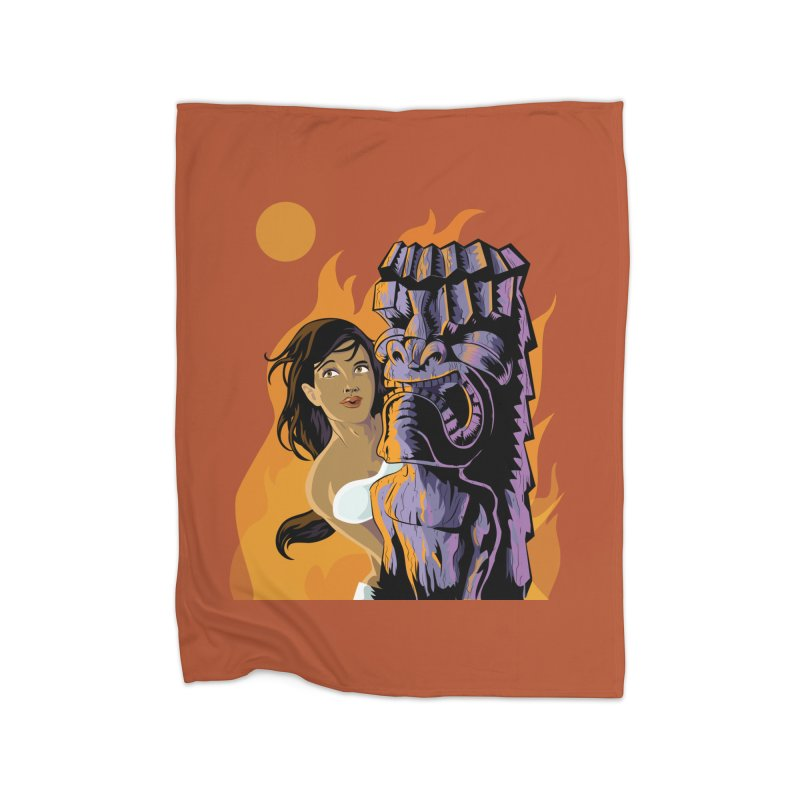 Wahine, Moon And Fire Home Fleece Blanket by Zerostreet's Artist Shop