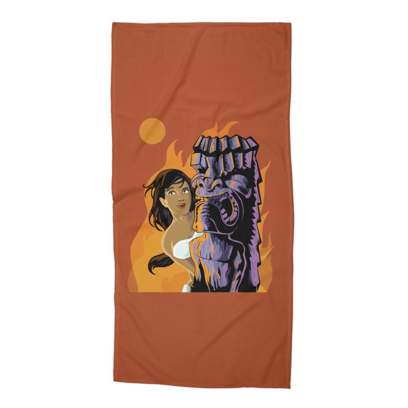 Wahine, Moon And Fire Accessories Beach Towel by Zerostreet's Artist Shop