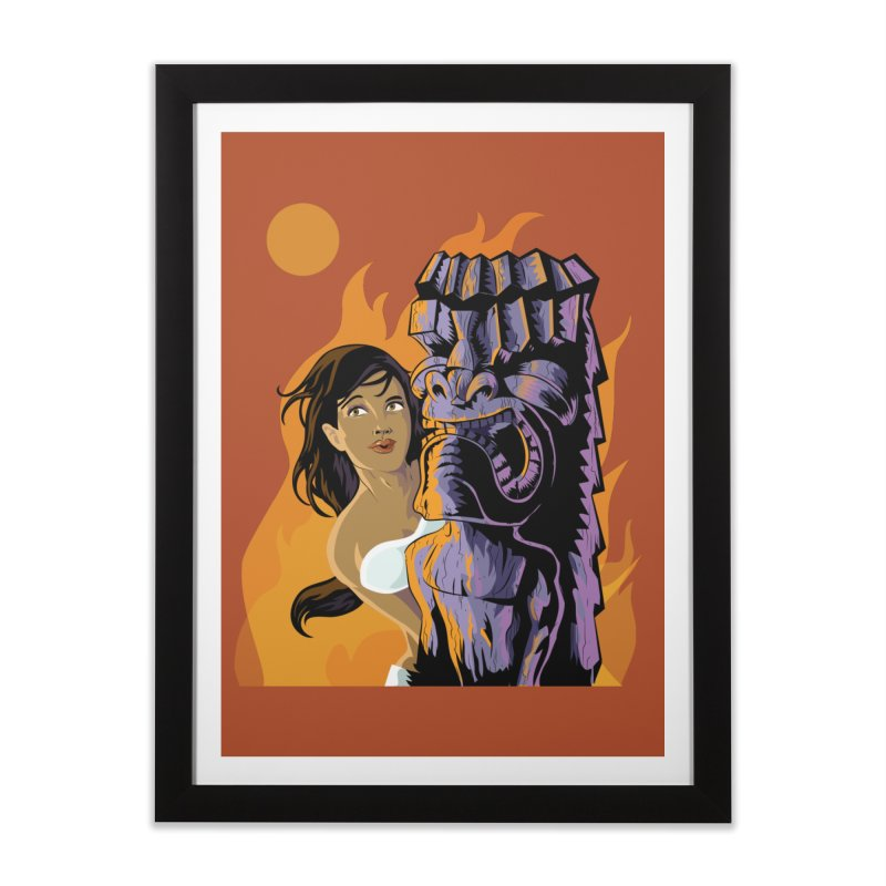 Wahine, Moon And Fire Home Framed Fine Art Print by Zerostreet's Artist Shop