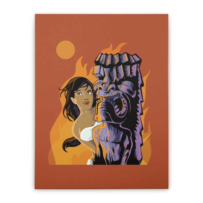Wahine, Moon And Fire Home Stretched Canvas by Zerostreet's Artist Shop