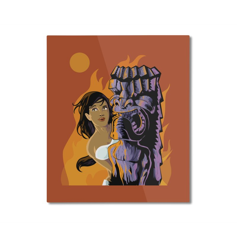 Wahine, Moon And Fire Home Mounted Aluminum Print by Zerostreet's Artist Shop