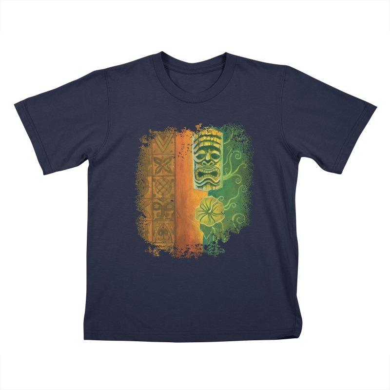 Tiki And Hibiscus Kids T-Shirt by Zerostreet's Artist Shop