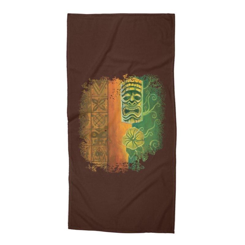 Tiki And Hibiscus Accessories Beach Towel by Zerostreet's Artist Shop
