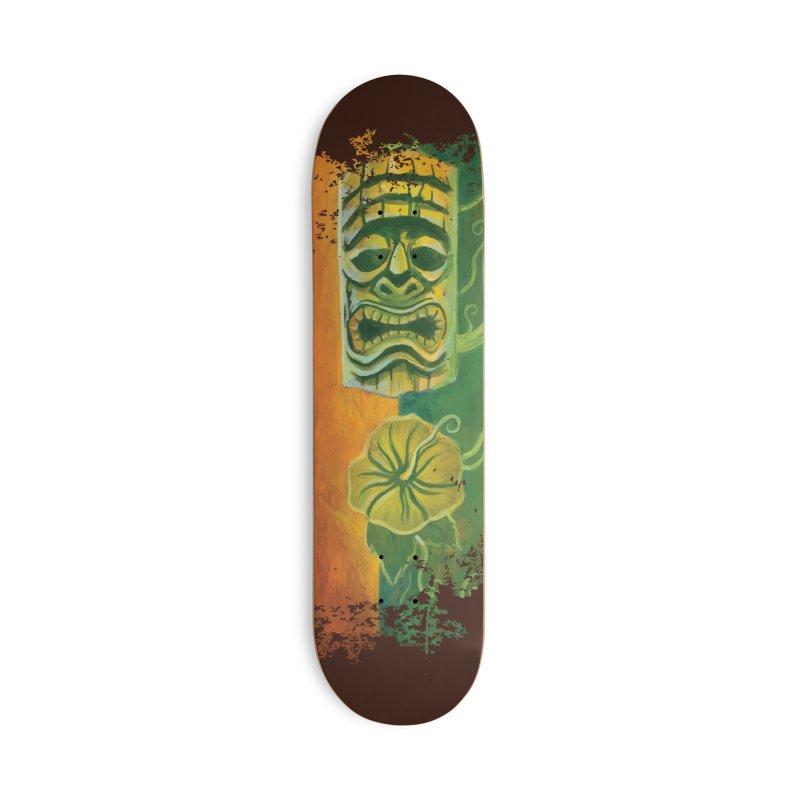 Tiki And Hibiscus Accessories Skateboard by Zerostreet's Artist Shop