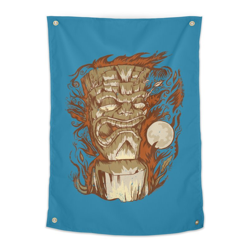 Tiki & Moon No. 16 Home Tapestry by Zerostreet's Artist Shop
