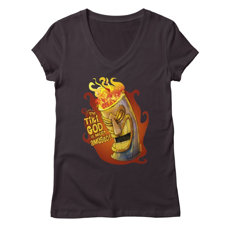 The Tiki God Is Most Amused! Women's V-Neck by Zerostreet's Artist Shop