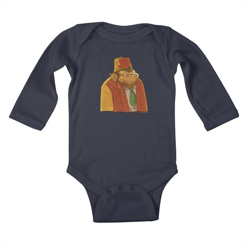 Rusty The Chimp Kids Baby Longsleeve Bodysuit by Zerostreet's Artist Shop