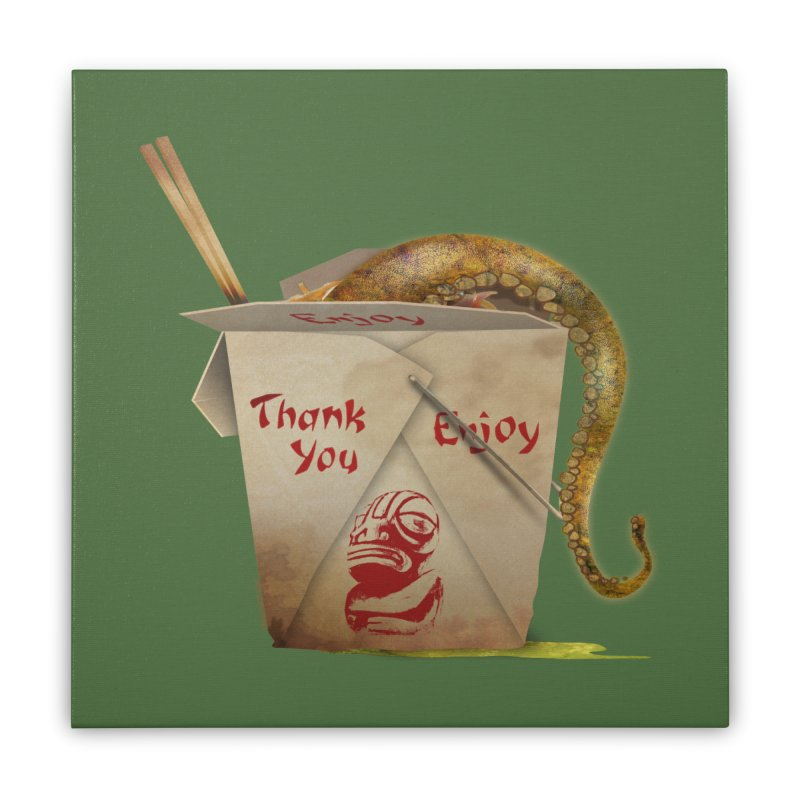 TENTACLE TAKE-OUT Home Stretched Canvas by Zerostreet's Artist Shop