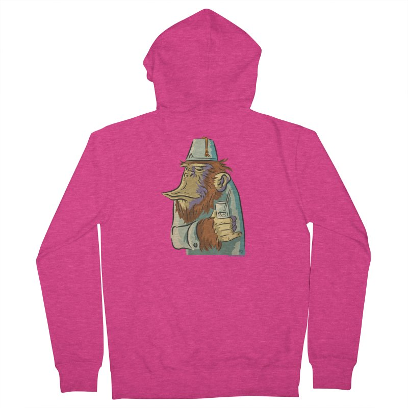 Spence The Chimp Women's French Terry Zip-Up Hoody by Zerostreet's Artist Shop