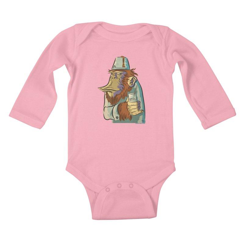 Spence The Chimp Kids Baby Longsleeve Bodysuit by Zerostreet's Artist Shop