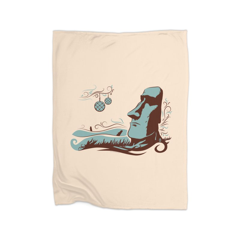 Moai  Home Fleece Blanket by Zerostreet's Artist Shop