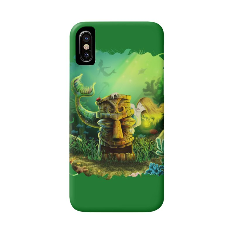 Encounter At The Cove - Tikis and Mermaids Accessories Phone Case by Zerostreet's Artist Shop