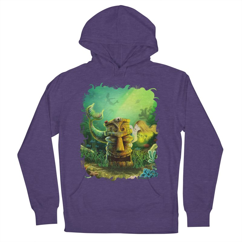 Encounter At The Cove - Tikis and Mermaids Men's French Terry Pullover Hoody by Zerostreet's Artist Shop