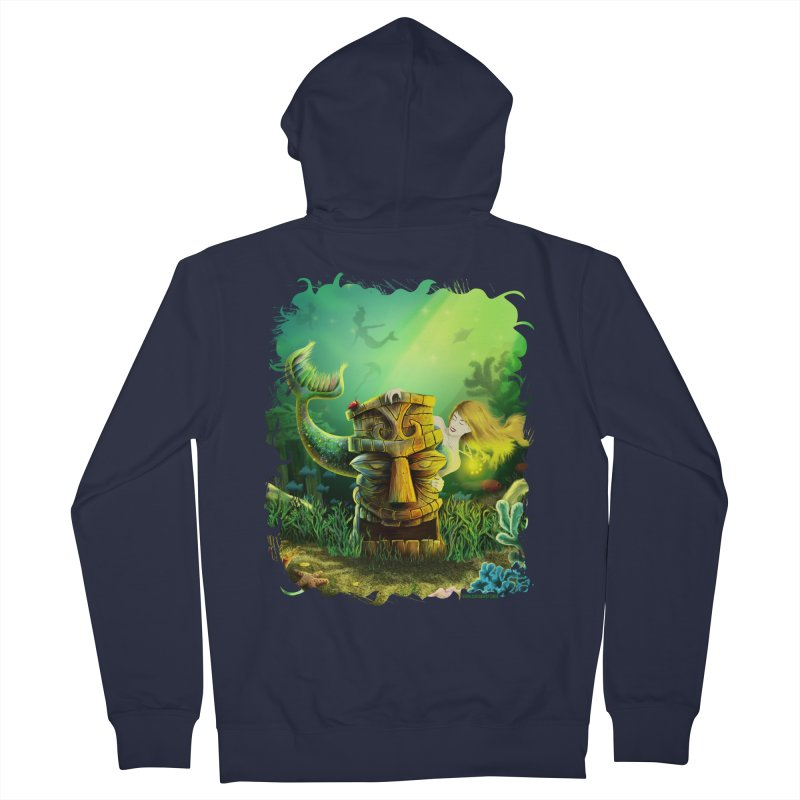 Encounter At The Cove - Tikis and Mermaids Men's French Terry Zip-Up Hoody by Zerostreet's Artist Shop