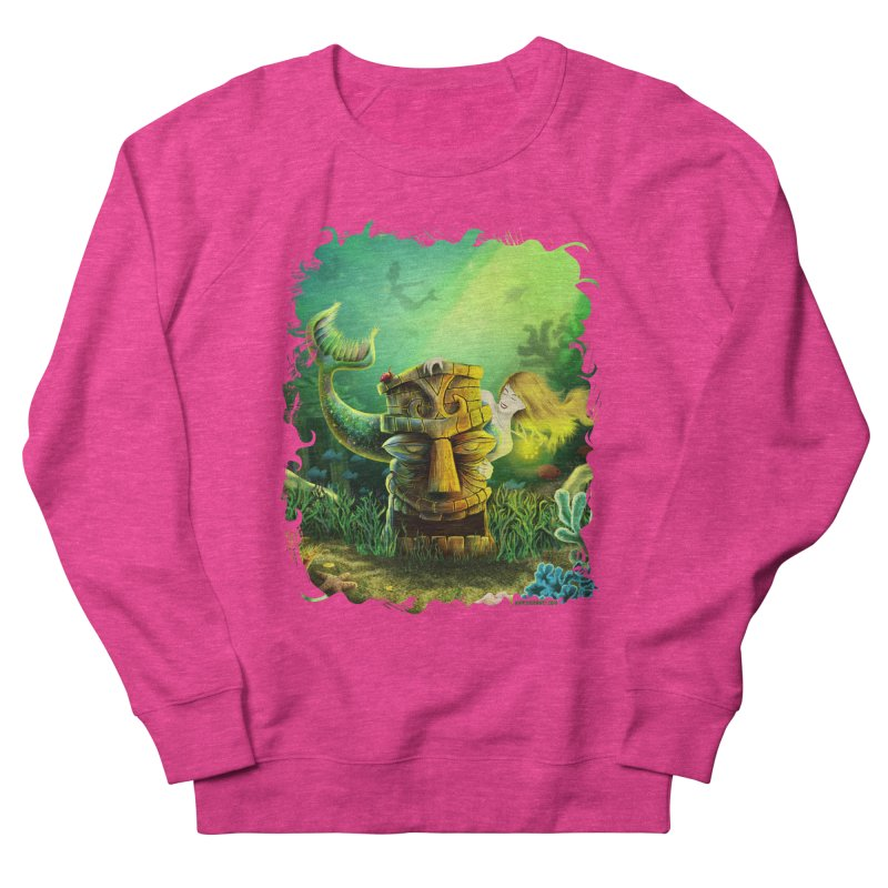 Encounter At The Cove - Tikis and Mermaids Women's French Terry Sweatshirt by Zerostreet's Artist Shop