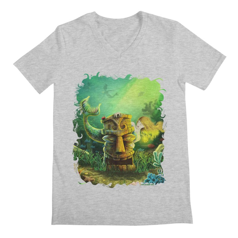 Encounter At The Cove - Tikis and Mermaids Men's Regular V-Neck by Zerostreet's Artist Shop