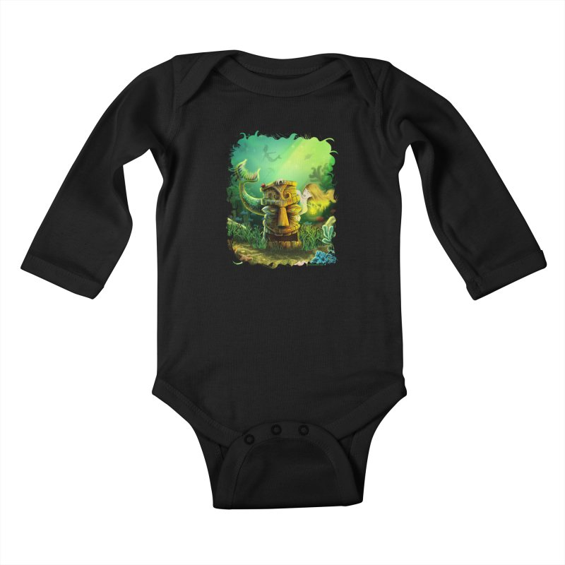 Encounter At The Cove - Tikis and Mermaids Kids Baby Longsleeve Bodysuit by Zerostreet's Artist Shop