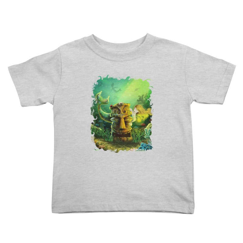 Encounter At The Cove - Tikis and Mermaids Kids Toddler T-Shirt by Zerostreet's Artist Shop