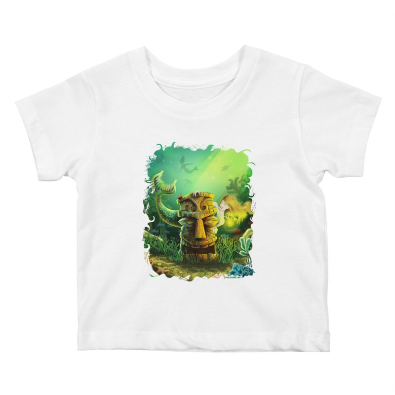Encounter At The Cove - Tikis and Mermaids Kids Baby T-Shirt by Zerostreet's Artist Shop