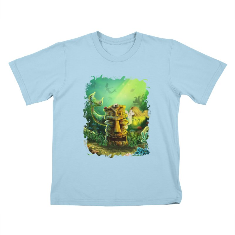Encounter At The Cove - Tikis and Mermaids Kids T-Shirt by Zerostreet's Artist Shop