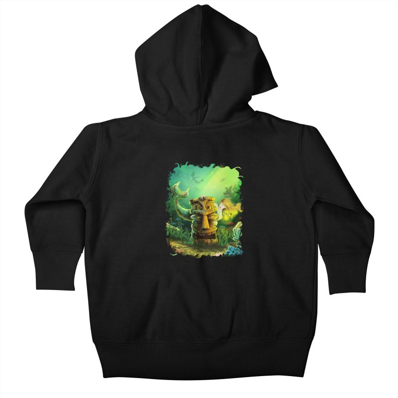 Encounter At The Cove - Tikis and Mermaids Kids Baby Zip-Up Hoody by Zerostreet's Artist Shop
