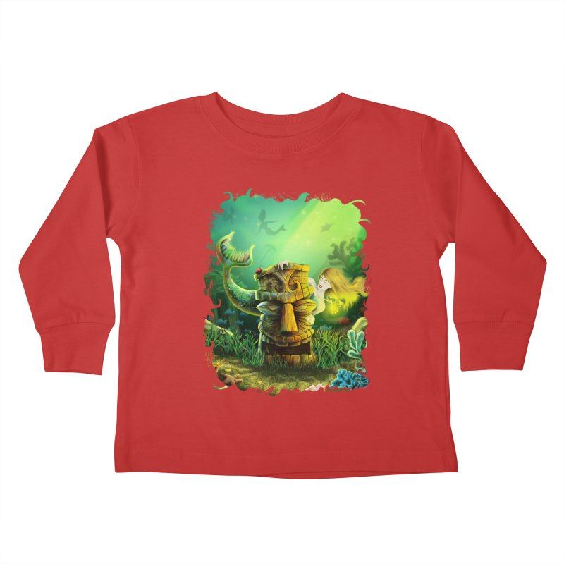 Encounter At The Cove - Tikis and Mermaids Kids Toddler Longsleeve T-Shirt by Zerostreet's Artist Shop
