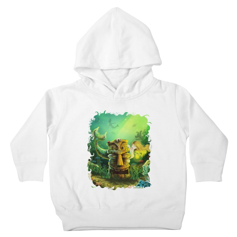 Encounter At The Cove - Tikis and Mermaids Kids Toddler Pullover Hoody by Zerostreet's Artist Shop