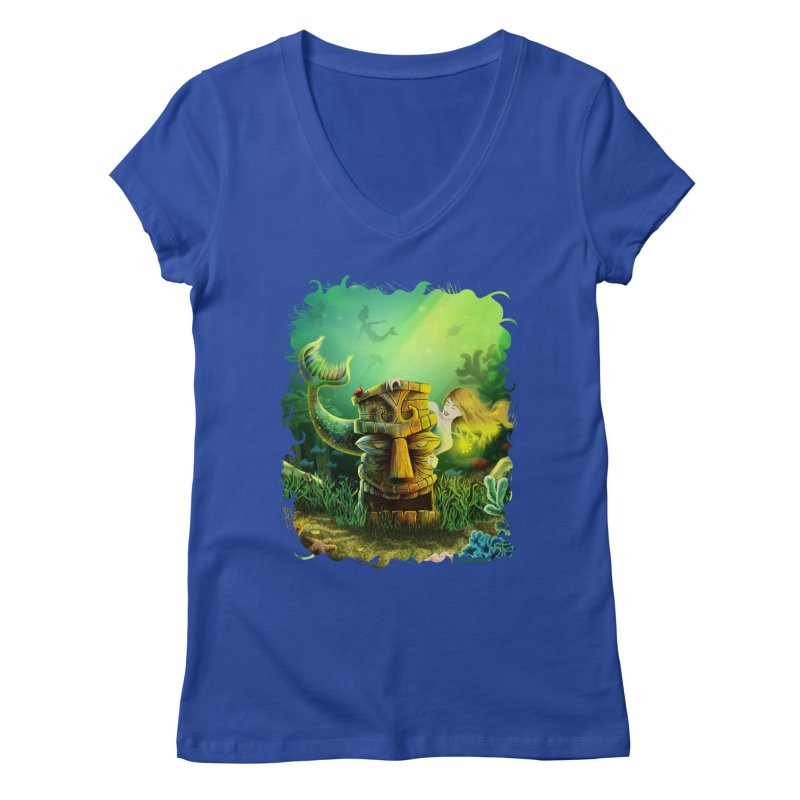 Encounter At The Cove - Tikis and Mermaids Women's Regular V-Neck by Zerostreet's Artist Shop