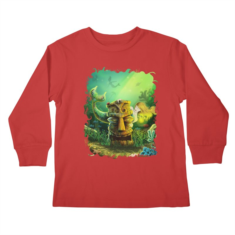 Encounter At The Cove - Tikis and Mermaids Kids Longsleeve T-Shirt by Zerostreet's Artist Shop