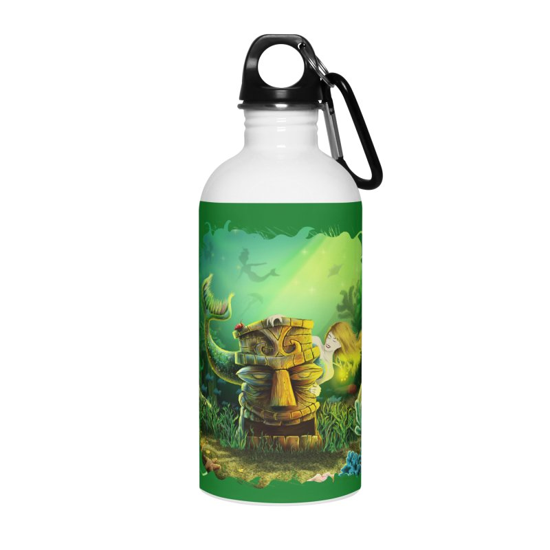 Encounter At The Cove - Tikis and Mermaids Accessories Water Bottle by Zerostreet's Artist Shop