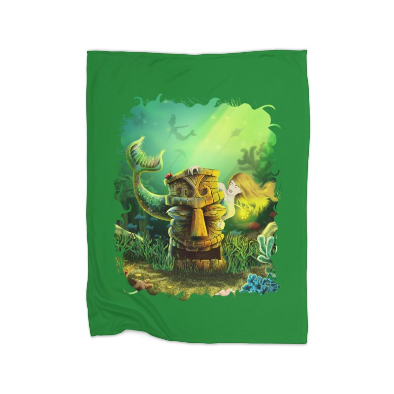 Encounter At The Cove - Tikis and Mermaids Home Blanket by Zerostreet's Artist Shop