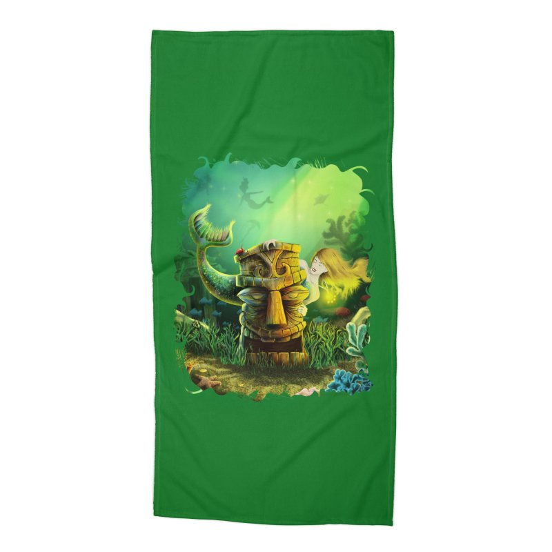 Encounter At The Cove - Tikis and Mermaids Accessories Beach Towel by Zerostreet's Artist Shop