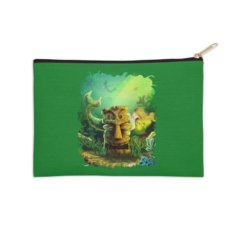 Encounter At The Cove - Tikis and Mermaids Accessories Zip Pouch by Zerostreet's Artist Shop