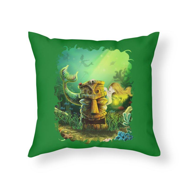Encounter At The Cove - Tikis and Mermaids Home Throw Pillow by Zerostreet's Artist Shop