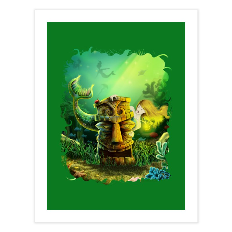 Encounter At The Cove - Tikis and Mermaids Home Fine Art Print by Zerostreet's Artist Shop