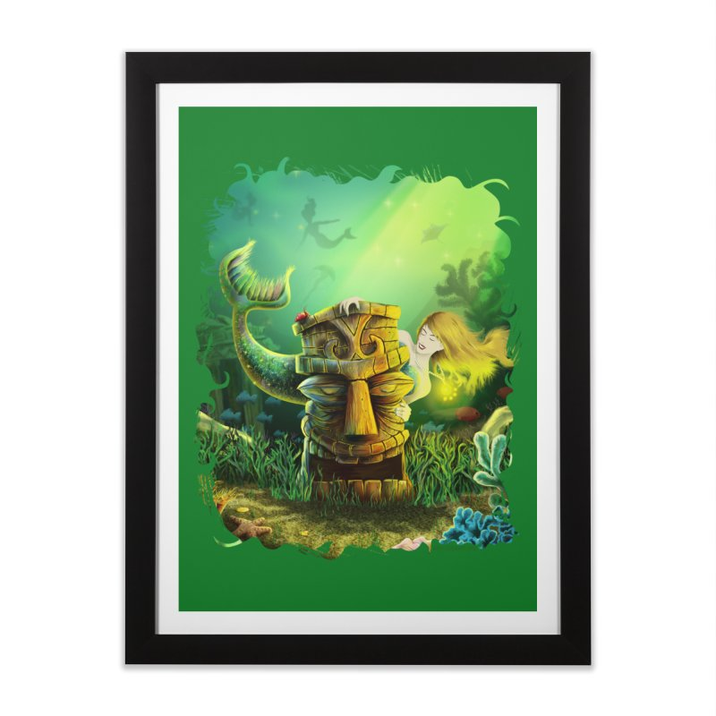 Encounter At The Cove - Tikis and Mermaids Home Framed Fine Art Print by Zerostreet's Artist Shop
