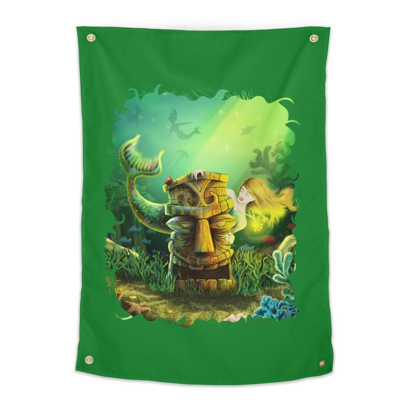 Encounter At The Cove - Tikis and Mermaids Home Tapestry by Zerostreet's Artist Shop