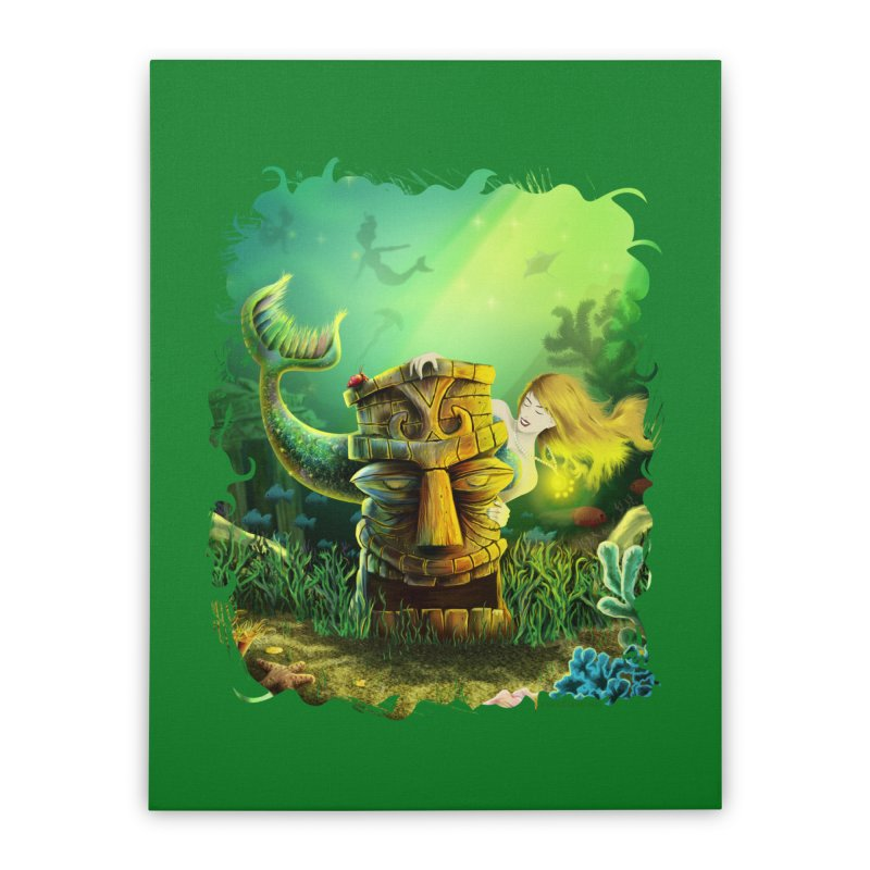 Encounter At The Cove - Tikis and Mermaids Home Stretched Canvas by Zerostreet's Artist Shop