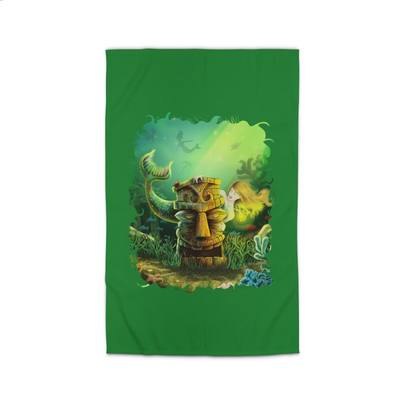 Encounter At The Cove - Tikis and Mermaids Home Rug by Zerostreet's Artist Shop