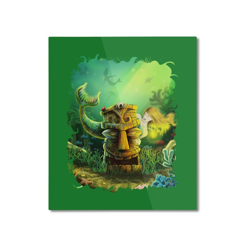 Encounter At The Cove - Tikis and Mermaids Home Mounted Aluminum Print by Zerostreet's Artist Shop
