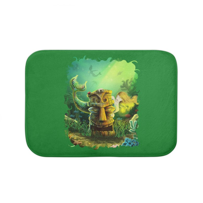 Encounter At The Cove - Tikis and Mermaids Home Bath Mat by Zerostreet's Artist Shop