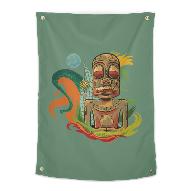 Tikilandia Jack of Clubs Home Tapestry by Zerostreet's Artist Shop